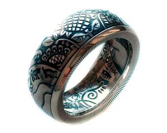 Ukrainian Silver Coin Ring 2017 - Ukraine Silver 925 5 Hryvnia - Made in Ukraine - Wedding ring - band - Tryzub - Украина - Україна