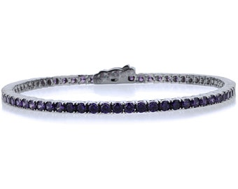 2.5mm 14K White Gold 3.6 ct Simulated Amethyst Cubic CZ Tennis Bracelet 7.25in(CLB013RD25WG-AM)