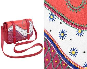 party purse red bag sale unique gift tote leather accessory purse modern purse minimalist purse multicolor bag paisley accessory boho bag
