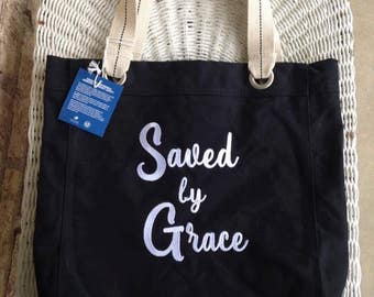 Saved by Grace Tote Bag  Add your initials to the other side free!