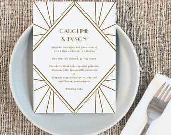 Printable Wedding Menu Template | INSTANT DOWNLOAD | Gatsby | 5x7 | Editable Colors | Mac or PC | Word & Pages