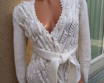 Cardigan . Handmade knitted vest . Elegant white vest.Ladies cardigan handmade.Clothing gift for her hand knitted cardigan