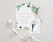 Wedding Invitation Beautiful Romantic Elegant White Floral Personalized Set of 25, 50 or 100 invitations
