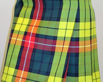 Modern Buchanan Tartan Plaid Ladies Kilt~Yellow/Orange/Green Plaid Back Pleated Ladies Kilt Small to Plus Sizes~custom make Kilt @sohoskirts