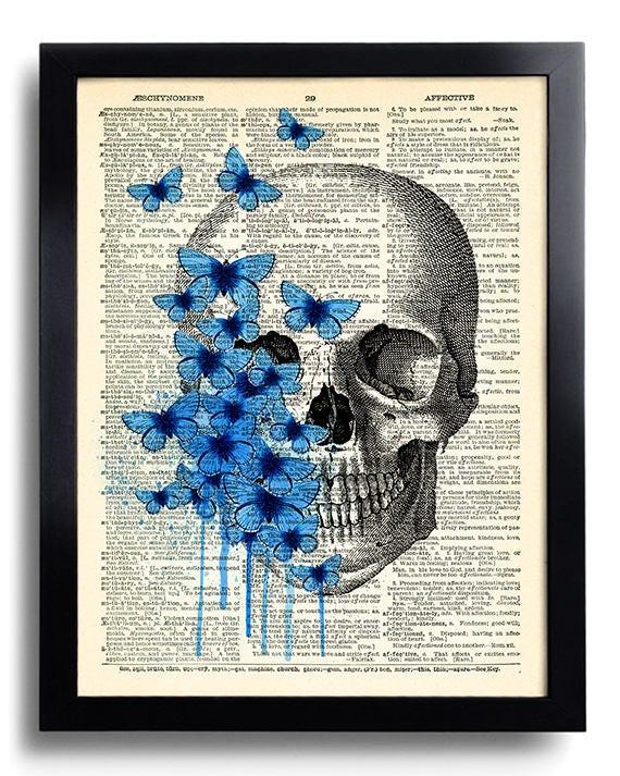 Schädel-Kunst-blaue Schmetterlinge Kunstdruck Totenkopf