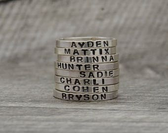Custom Name Ring - Sterling Silver   Personalized Hand Stamped Name Ring - Mother's Ring - Engraved Stackable Rings - Stacking Stamped Ring