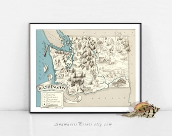 WASHINGTON MAP PRINT - charming vintage picture map to frame - perfect housewarming or wedding gift - size & color choices - personalize it