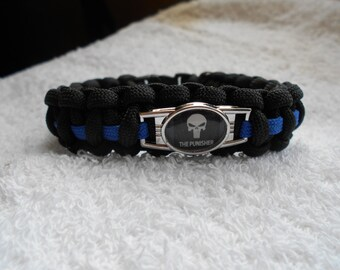 The Punisher Series - Charm # 4D  - Paracord Bracelet - Hand Made