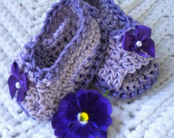 Crocheted Violet Plum Sandals 0 3 mo.