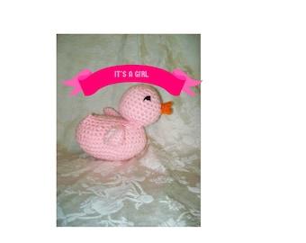 Crochet Rubber Ducky, Pink Baby Duck, Gender Reveal, Baby Shower Gift, Stuffed Animal