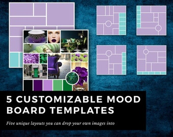 InDesign Photoshop templates || 5 templates for mood boards for logo design, brand identity, event planning, color palette, brand style