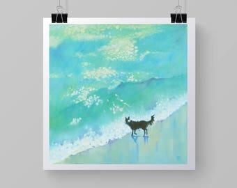 "Art Print ""Jade Green Sea With Border Collie"" 8"" x 8"" Best Seller"