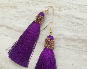 Alana Ultra Violet Earrings, Purple Tassel Earrings, Long Tassle Earrings, Drop Earrings, Purple Silk Tassels, Modern Beaded Tassel Earrings
