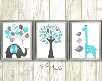 Aqua and gray, Elephant Nursery, Boy Nursery Wall Art, Giraffe and tree nursery, Playroom art, Home Decor, Set of three