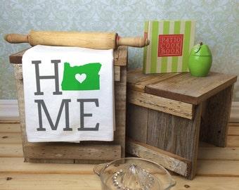 Oregon State Flour Sack Towel, Oregon State Tea Towel, Flour Sack Tea Towel, Housewarming Gift, Real Estate Gift, Gift for Her, Map Art