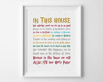 House Rules Harry Potter Quote Digital Art Print
