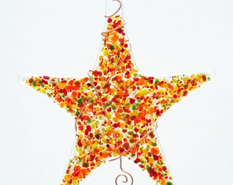 Glassworks Northwest - Sprinkle Star Earthy Tones - Fused Glass Suncatcher or Ornament