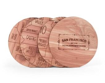 San Francisco Map Coaster Set