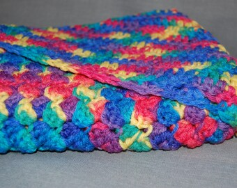 Rainbow crochet hooded baby blanket