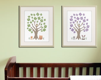 Baby nursery art print. ABC nursery decor. Alphabet print, woodland owl art print, numbers print childrens art. SET OF 2 prints