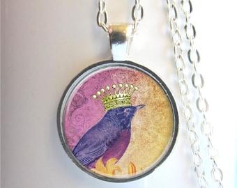 Bird Pendant, Bird With Crown Necklace, Silver Bird Charm, Bird Necklace