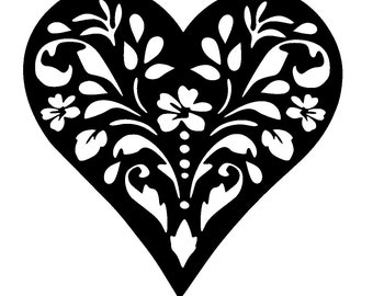 "12/12"" Vintage heart design stencil template 2"