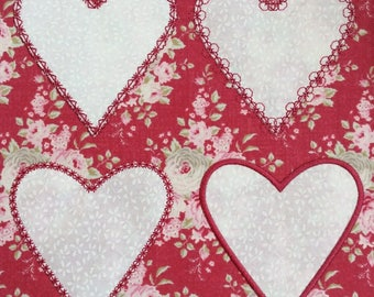 FOUR Heart Appliqué Machine Embroidery Patterns - by Pixie Willow Patterns