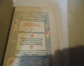 Antique Midsummer Night's Dream by William Shakespeare Hardback Book Copyright 1901 By The University Society, collectable, vintage