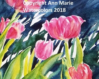It's Spring!  8 x 10 tulips watercolor giclee print