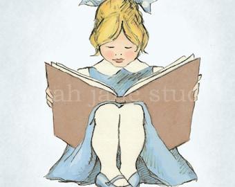 Children's Wall Art Print - Read With Me (Blue B) - Girl Kids Nursery Room Decor
