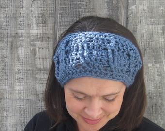 Cabled crochet headband, headwrap, ear warmer - slate blue - crochet accessories Winter Fashion handmade Salutations Crochet
