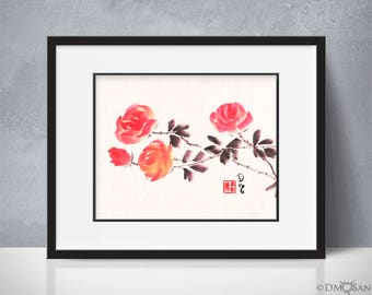 Red Roses 2 - sumi-e watercolor painting - 8x10 (Print)
