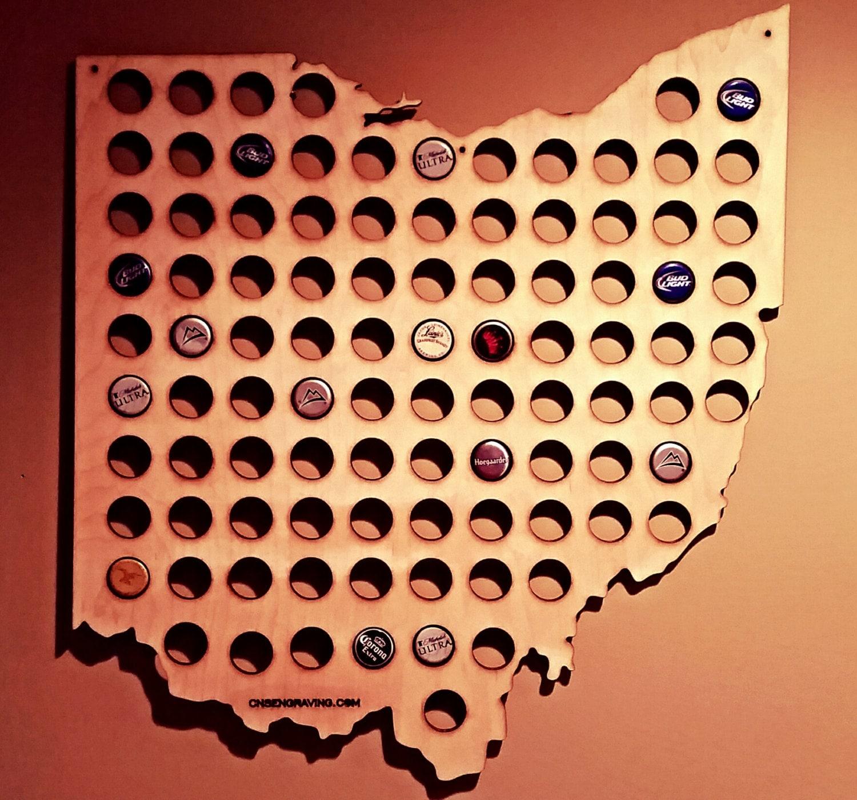Ohio Shaped Bottle Cap Map