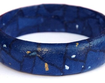 Blue bangle with gold and silver flecks - starry night - decoupaged bangle - Japanese paper - pine wood - eco jewellery