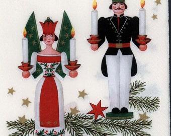 4 Christmas Napkins   Vintage Erzgebirgs German Christmas Ornaments    Decoupage Napkins   Xmas Napkins    Paper Napkins for Decoupage