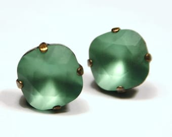 Kelly Green Crystal Stud Earrings Classic Matte Mint Sparkling Seafoam Solitaire Swarovski Sterling Post & Copper Emerald Erinite Sage Moss