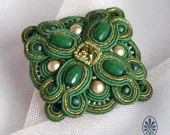 Green soutache brooch, embroidery brooch, soutache embroidery gift