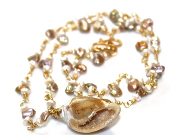 Shell Necklace Seashell Necklace Fossilized Druzy Shell Gold Wire Wrapped Pondslime Pearl Gemstone Shell Jewelry Spring Beach Jewelry