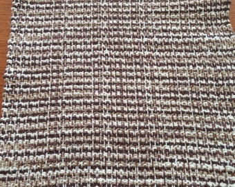 Handwoven table runner in Milk Chocolate cotton yarn