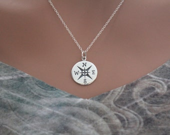 Sterling Silver Compass Charm Necklace, Follow Your Compass Charm Necklace, Traveler Charm Necklace, Explorer Charm Compass Necklace,