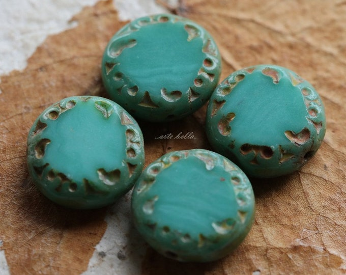 SLICED TURQUOISE .. 4 Picasso Czech Glass Coin Beads 14x5mm (2418-4)
