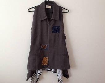 Funky Vest Top Jacket Upcycled Clothing Hipster Chic Urban Shabby Refashioned Repurposed Eclectic Tunic. Women's Size Large.