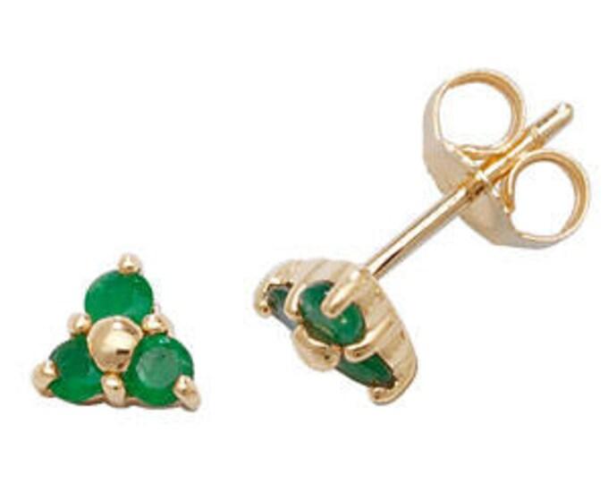 Emerald 3 Stones Stud Earring May Birthstone