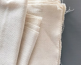 MONKS CLOTH FABRIC - Aida 7 Count Monks Cloth - Fabric for punch needle, rug making - Swedish weave soft monkscloth - ready to ship from U.K