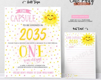 INSTANT DOWNLOAD - You are my sunshine Time Capsule First Birthday You are my sunshine Time Capsule Party decorations Sunshine Birthday