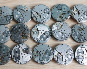 "lot of 15  (1.1 "") watch movements / jewelry supplies / Steampunk supplies /  Watch movements for art / Vintage / Steampunk Findings"