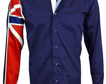 Men's Union Jack Formal Shirt Men Italian Shirt Designer Great Quality Regular Fit Navy 10036 5aSwqbAc