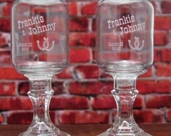 Horseshoe REDNECK WINE GLASSES  -Horseshoe - Personalized -  Hillbilly Wine Glasses - Wedding -Anniversary - Mason Jar