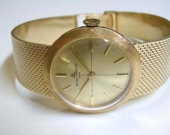 Ladies 14kt Gold Baume Mercier Satin Bezel Dress Watch Circa 1985