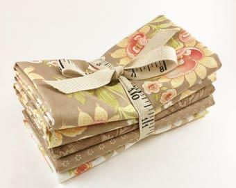 Fig Tree Fabric Bundle - Hazel and Plum Fabric - Light Brown -  Fat Quarter Bundle - 5pc - Moda Fig Tree Quilts Fabric